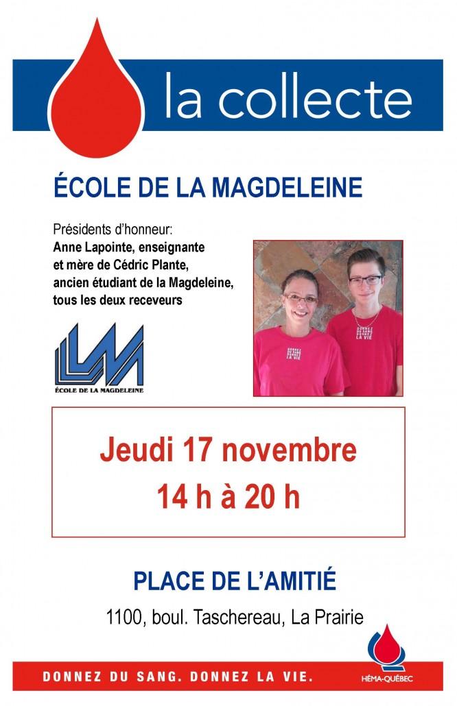 Affiche collecte de sang à la Mag novembre 2016