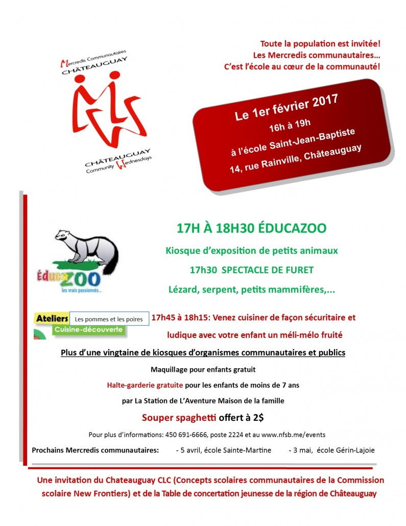Affiche 8 X 11 Mercredi communautaire école Saint-Jean-Baptiste 2017-02-01