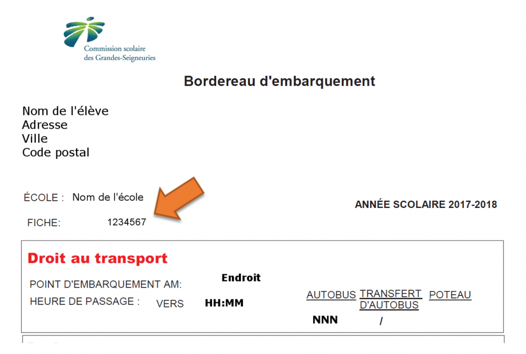 Exemple bordereau de transport portail parents Mozaik