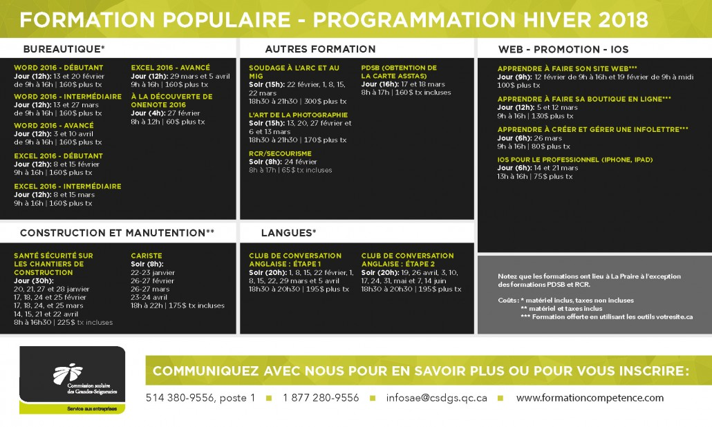Formation populaire hiver 2018