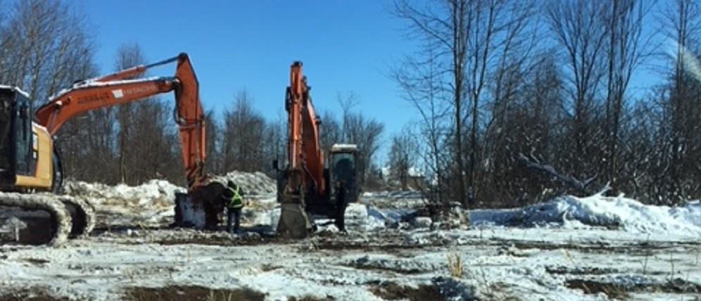 Photo du chantier de l'école spécialisée à Châteauguay (8 février 2018)